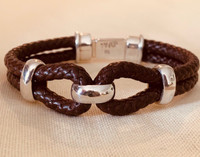 Sterling Silver and Leather Horse Bit Motif Bracelet