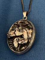 Antique Oval Locket Pendant with Horse and His Pal