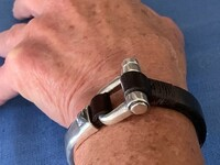 Leather and Silver Equestrian Motif Bracelet
