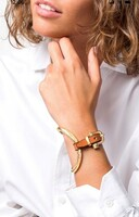 Gold Side Oval Bracelet with Leather and Buckle