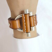Double Silver Bars with Camel Leather Strap Bracelet