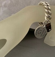 Silver Curb Chain Bracelet with Leather and Silver Charm Tag.