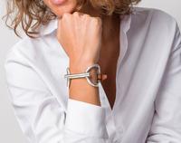 Silver Snaffle Bit on Leather Buckled Bracelet