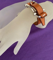 Camel Leather and Silver Buckle Bracelet