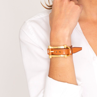 Camel Leather and Gold Buckle Bracelet