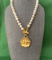 Large 2 Horse Medallion on a Freshwater Pearl Neckpiece