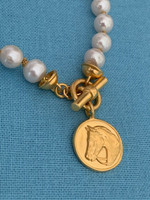 Bridled Horse Disc on Freshwater Pearls