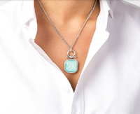 Swarovski Turquoise Crystal and Half Bit Pendant Necklace