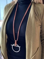Long Leather Necklace with Equestrian Motif Pendant
