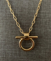Gold Half Full Cheek Snaffle Necklace