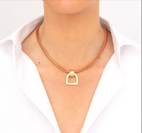 Camel Leather Necklace with Gold Stirrup Pendant