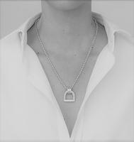 Chunky Stirrup Pendant Necklace