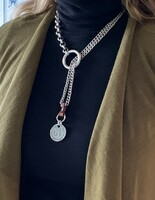 Silver and Leather Coin Drop Necklace