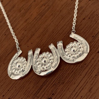 Vintage Petite Horseshoes with Flowers Necklace