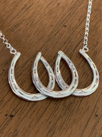 Antique Triple Horseshoes Luck Necklace