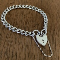 Antique Silver Curb Link Bracelet with Heart Closure