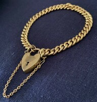 Antique Rolled Gold Curb Chain Bracelet with Heart Clasp