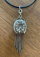 Antique  Horseshoe Watch Fob Pendant on Leather Cord