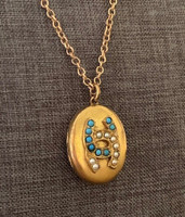 Antique Gold-Filled Turquoise and Pearl Horseshoes Locket Pendant