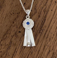 Sterling Silver Medium Ribbon Pendant with Sapphire on Chain