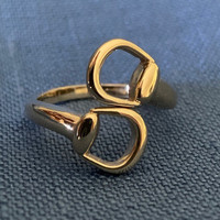 14k Yellow or White Gold Twist Snaffle Bit Ring