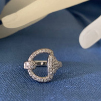 14k Yellow or White Gold half D-Bit Ring with Diamonds