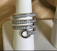 14k White Gold and Diamonds Spiral Snaffle Bit Ring