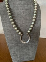 Sterling Silver Horseshoe on Gray Green Pearls Necklace