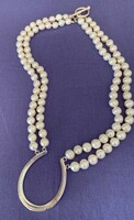 Limited Edition Good Luck Horseshoe on a Double Strand of Pearls