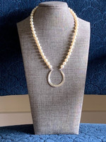 Classic Strand of White Pearls with a Sterling Silver Good Luck Horseshoe Necklace