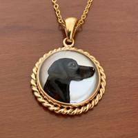 14k Gold Vintage Black Labrador Reverse Crystal Necklace