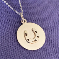 Sterling Silver Engravable Horseshoe Disc Pendant