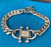 Vintage Sterling Silver Bit Motif Toggle Bracelet