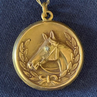 A Lovely Antique Gold- Filled Horse Head Locket
