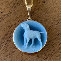 Labrador or Pointer Dog Cameo  in a 14k Gold Pendant Setting