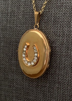 Vintage Gold-Filled Oval Locket with Rhinestone Horseshoe