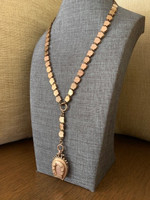 Rare Antique 10k Rose Gold-Filled  Book Chain Neckpiece with Rose Gold-Filled Horseshoe Locket