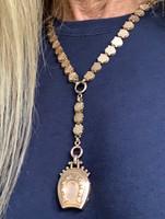 Rare Antique 10k Rose Gold-Filled  Book Chain Neckpiece with Rose Gold-Filled Horseshoe Locket