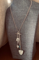 Vintage Sterling Silver Watch Chain Necklace with Equestrian Locket and Charms