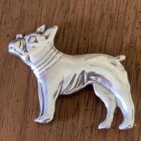 Sterling Silver Antique Boston Terrier  (or French Bulldog?) Pin