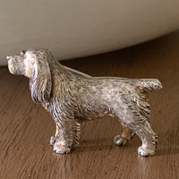Antique Sterling Silver Spaniel Dog Pin