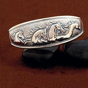 Sterling Silver Domed Fantasy Horse CUFF BRACELET