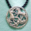 Sterling Silver Celtic Horse Pendant on Black Silk Cord