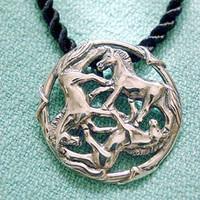 Sterling Silver Celtic Horse Pendant on Black Silk Cord