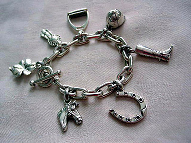 Sterling Silver Chunky Charms Charm Bracelet