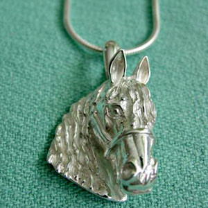 Sterling Silver Friesian Horse Head on Snake Chain Necklace