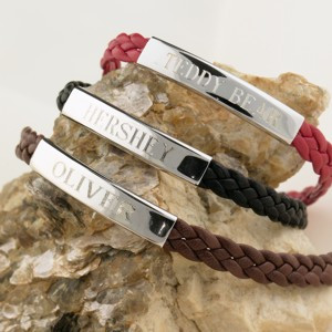 """Sterling silver and brown woven leather """"OLIVER"""" nameplate bracelet."""