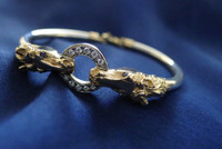 14k Yellow  and Sterling Silver Horse Heads Bangle Bracelet with Diamond Ring
