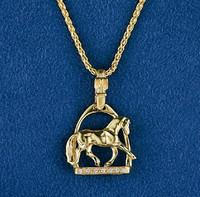 14k Gold Dressage Horse in Stirrup Pendant with Diamonds