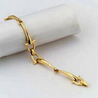 14k Gold Sophisticated Two Snaffle Bits Bracelet